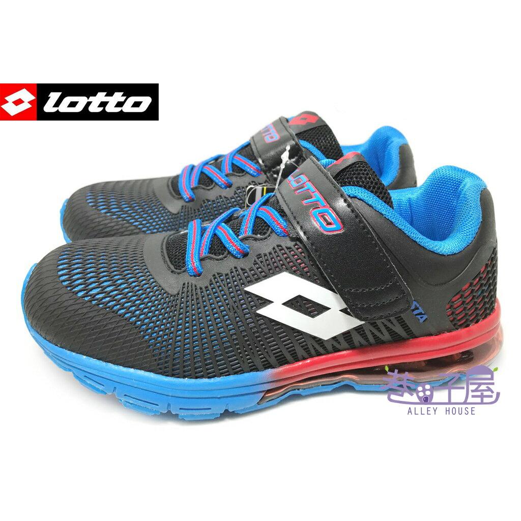 【巷子屋】義大利第一品牌-LOTTO 童款KPU氣墊運動慢跑鞋 [3010] 黑 超值價$590