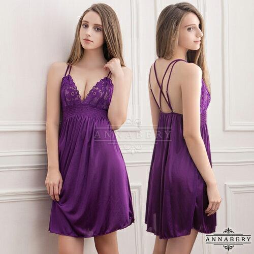 亞娜絲情趣用品唯美深紫蕾絲柔緞大尺碼睡衣