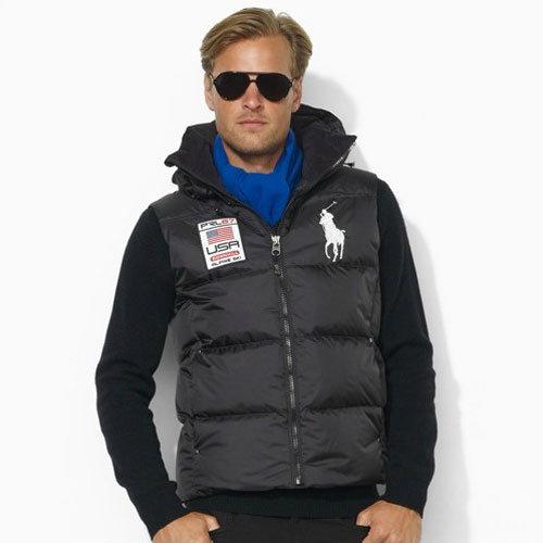 美國百分百【Ralph Lauren】背心 RL 無袖外套 Polo 大馬 羽絨 連帽 保暖上衣 黑色 男款 L XL號 H404