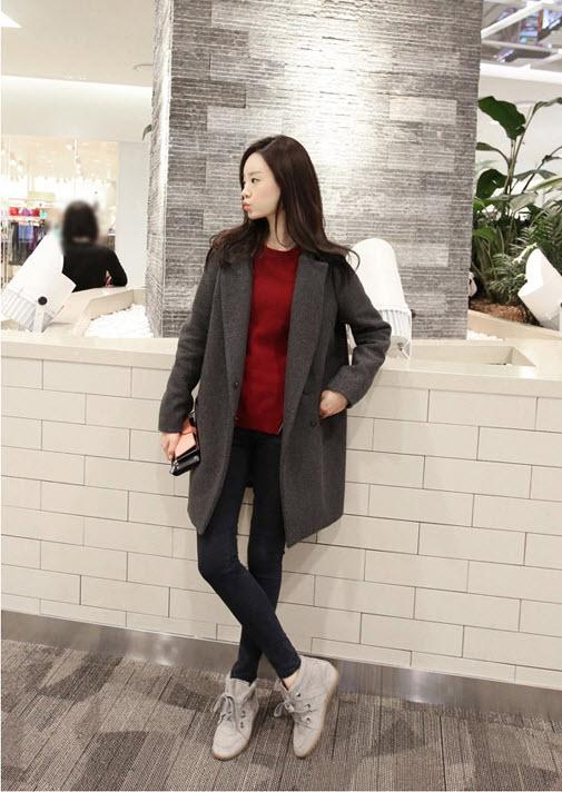 大衣 艾爾莎 極緻簡約風立領翻領仿羊絨厚大衣西裝外套 艾爾莎【TAE0636】 2