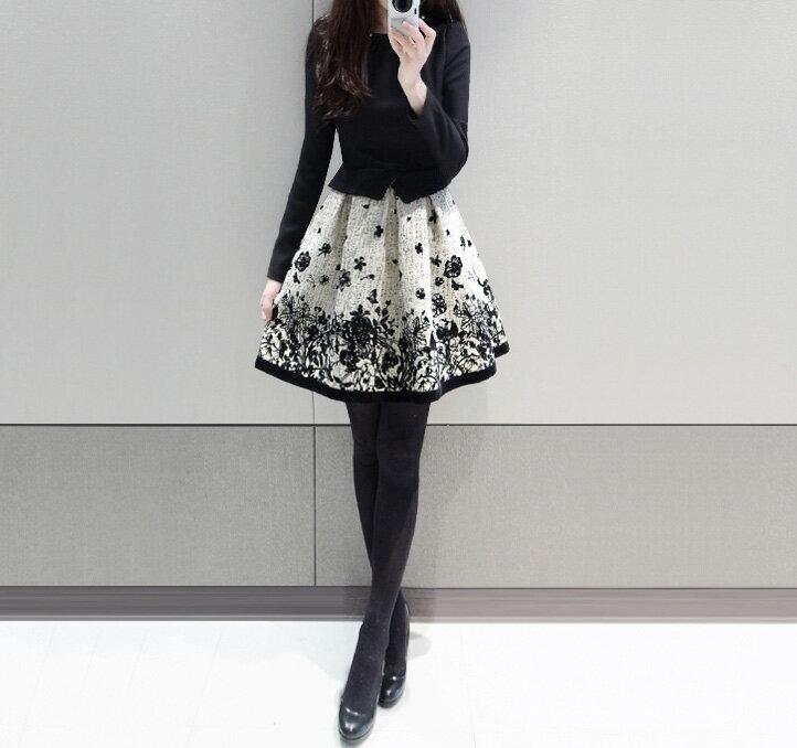 洋裝 氣質拼接印花加厚修身顯瘦連身裙 艾爾莎【TAE2418】 1