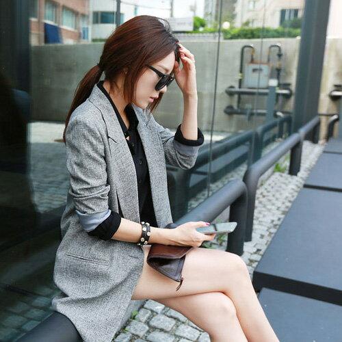 外套 OL幹練單釦修身顯瘦中長版西裝外套 艾爾莎【TAE2464】 1