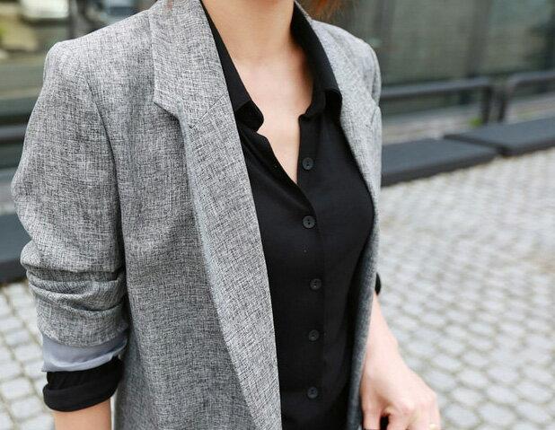 外套 OL幹練單釦修身顯瘦中長版西裝外套 艾爾莎【TAE2464】 2