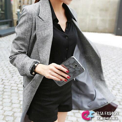 外套 OL幹練單釦修身顯瘦中長版西裝外套 艾爾莎【TAE2464】 0
