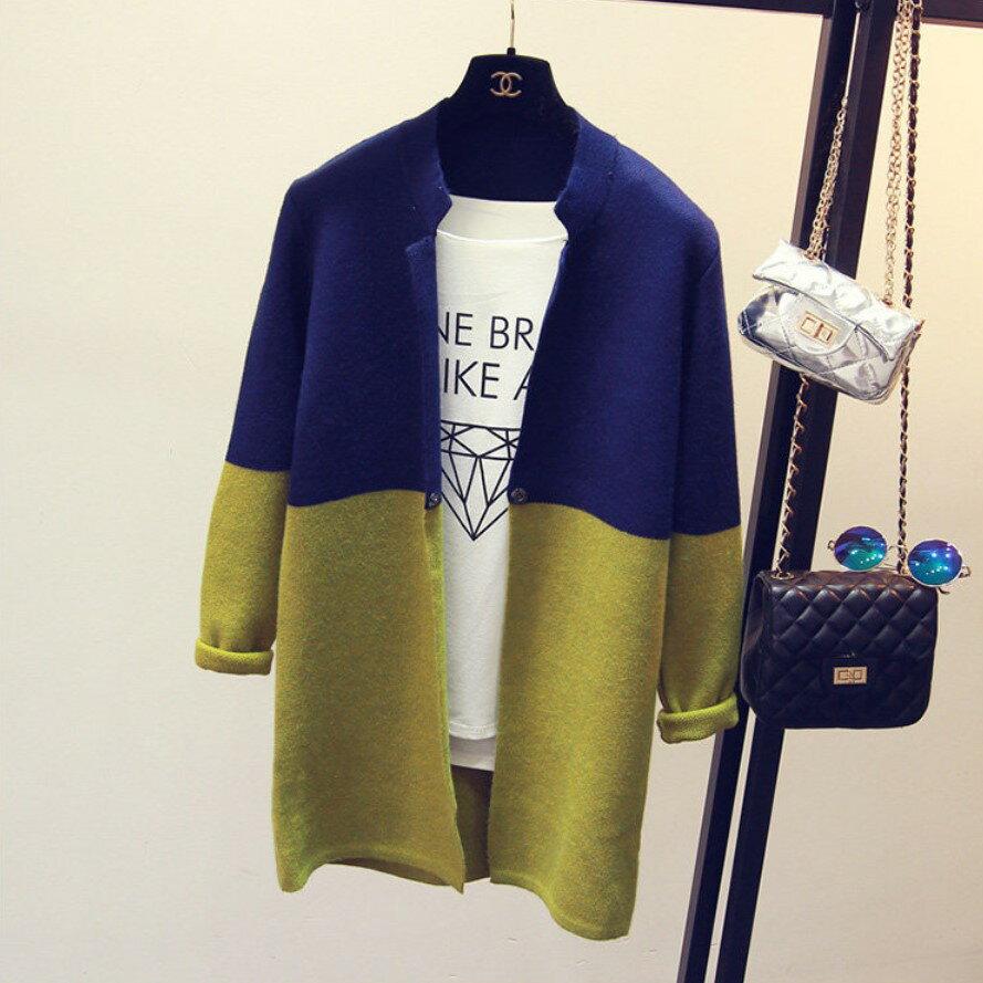 針織外套 立領雙配色長版針織毛衣外套 艾爾莎【TAE2562】 1