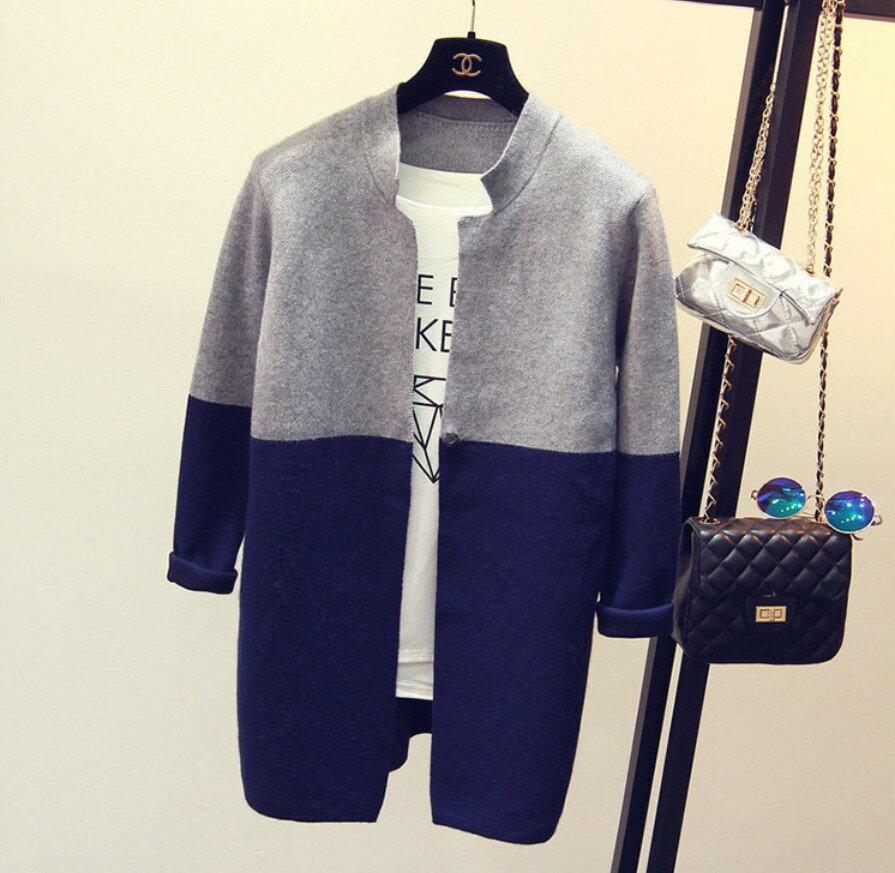 針織外套 立領雙配色長版針織毛衣外套 艾爾莎【TAE2562】 2