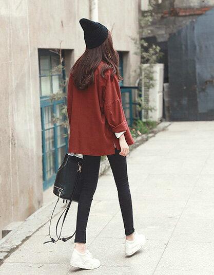 夾克 甜美純色寬鬆修身側邊開叉排釦西裝領外套 艾爾莎【TAE2590】 2