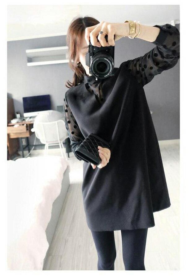 長版上衣 氣質透視V領點點假兩件連身裙 艾爾莎【TAE2596】 1