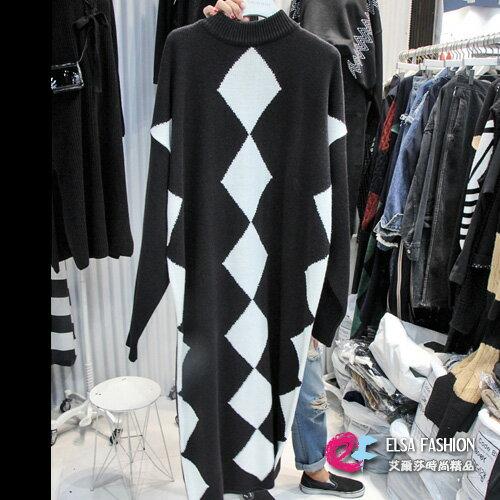 洋裝 寬鬆菱格微高領加厚連身裙 艾爾莎【TAE2866】 0
