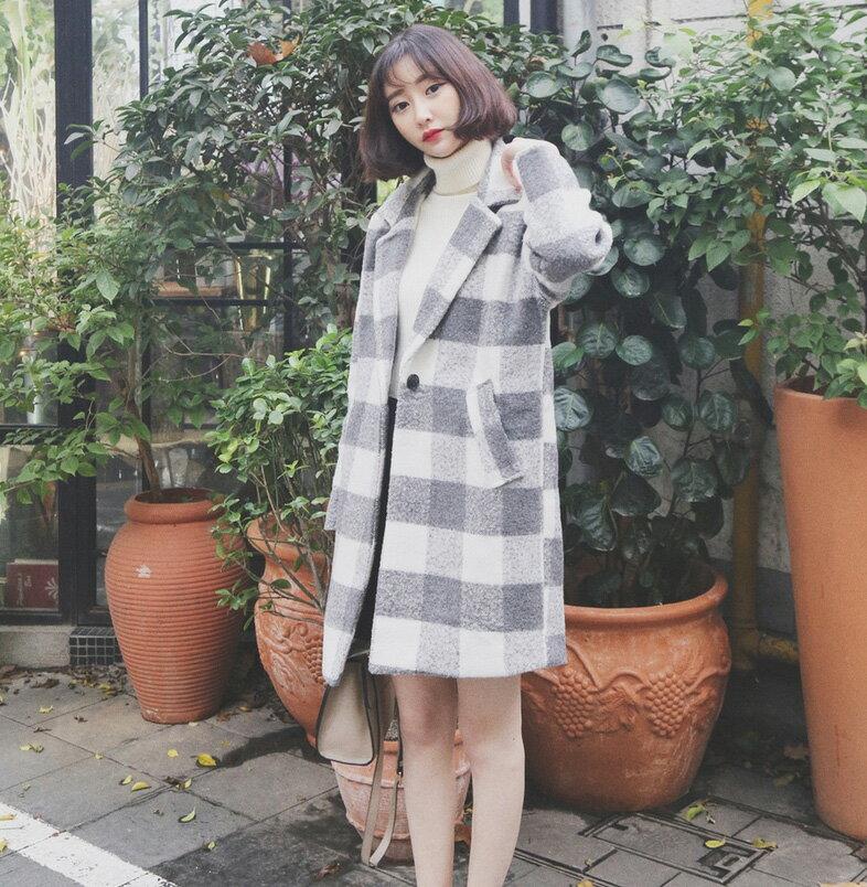 西裝外套 時尚冬裝大方格配色單釦大衣外套 艾爾莎【TAE2968】 2