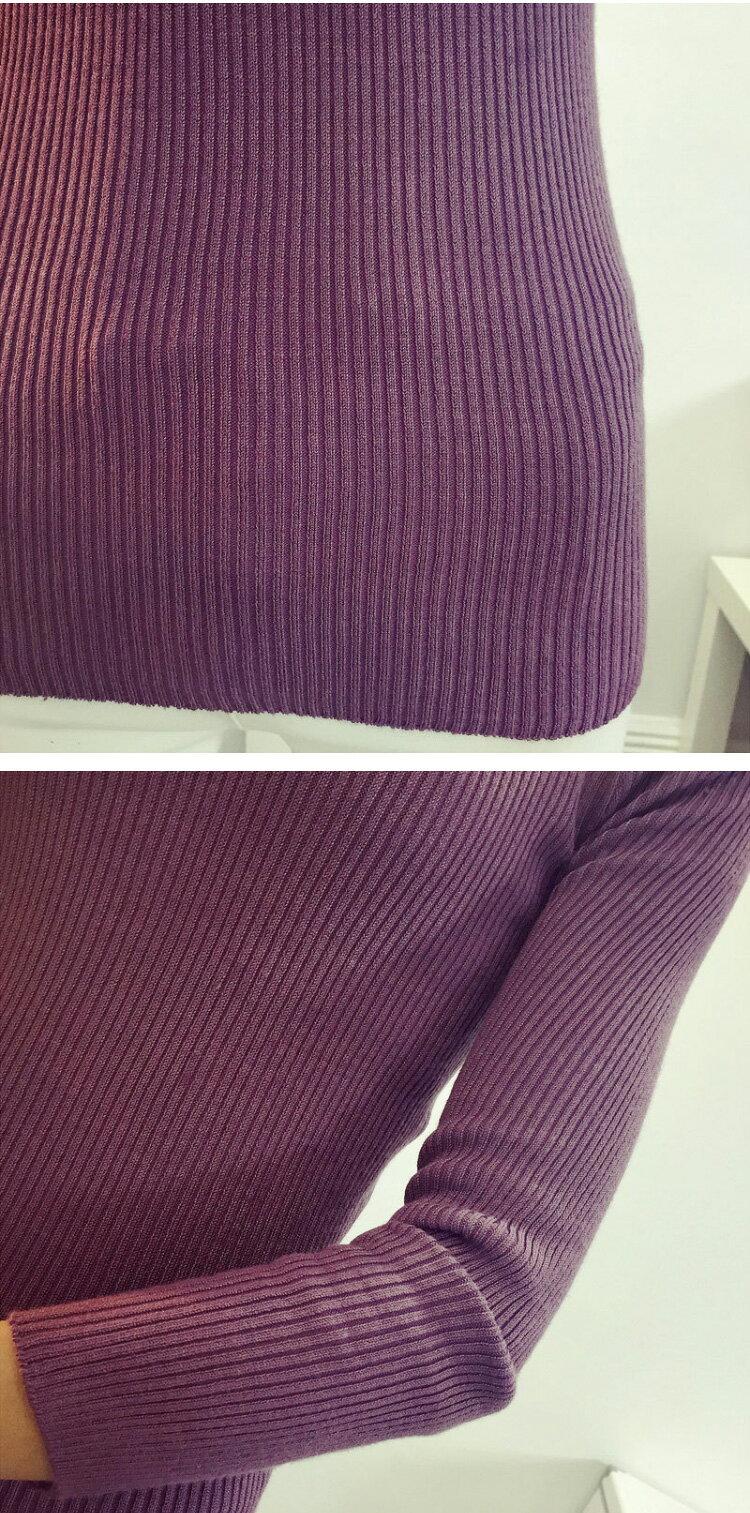 針織衫 修身素色長版包臀坑條彈力上衣 艾爾莎【TAE3073】 2