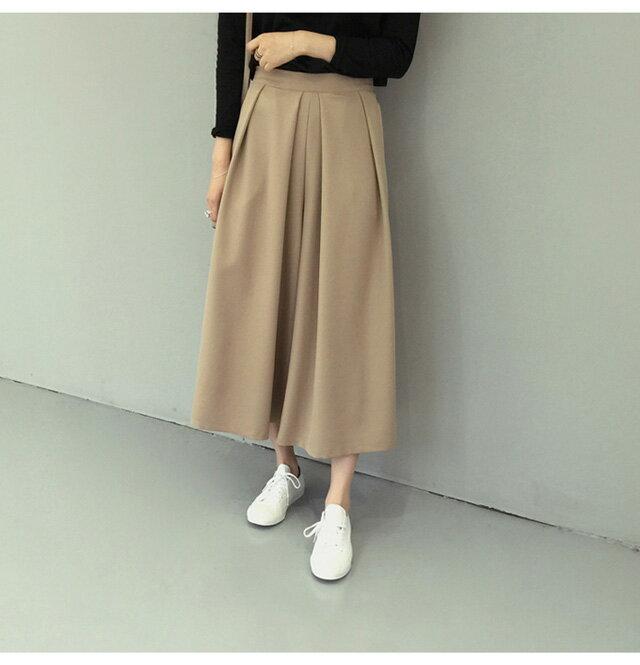 褲裙 修身打摺九分闊腿褲裙 艾爾莎【TAE3196】 2