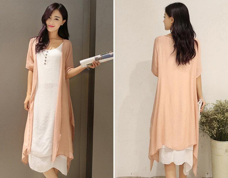 短袖裙裝 復古文藝雙層百背心連身裙+不規則長版外套套裝 艾爾莎【TAE3392】 1