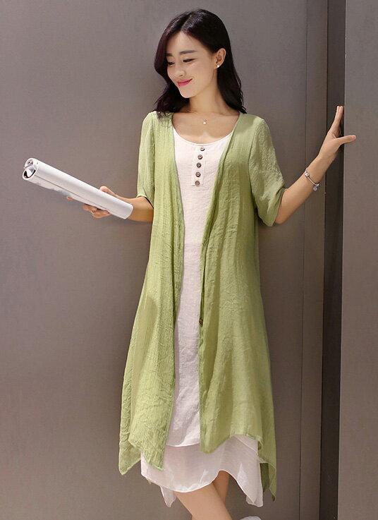 短袖裙裝 復古文藝雙層百背心連身裙+不規則長版外套套裝 艾爾莎【TAE3392】 2