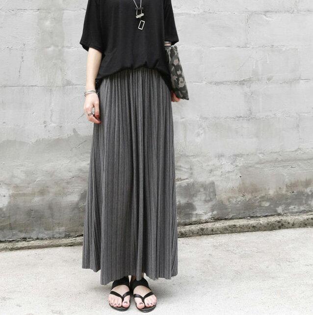 百摺裙 高雅簡約純色鬆緊腰百褶長裙 艾爾莎【TAE3514】 2