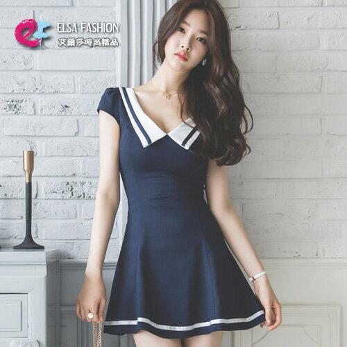 連身裙 性感V領拼色收腰顯瘦小包袖A字連身裙 艾爾莎【TAE3699】 0
