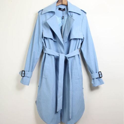 風衣 艾爾莎 倫敦氣息收腰綁帶修身顯瘦翻領弧擺開衩風衣外套【TAE4143】 1