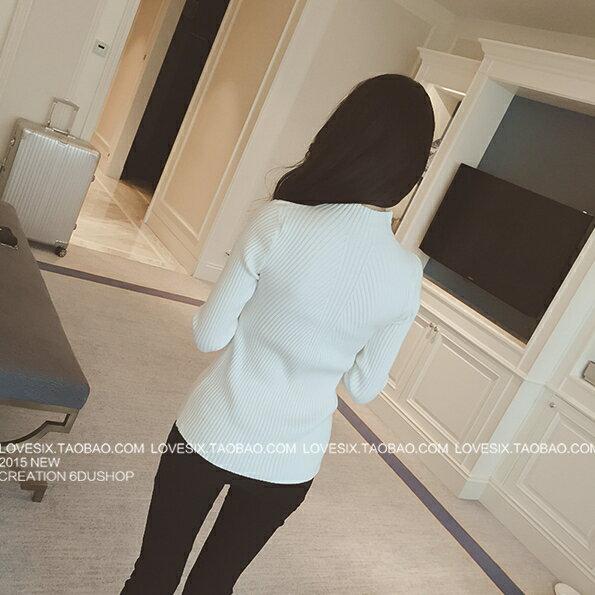 長袖針織衫 超彈力簡約素色高領修身針織上衣 艾爾莎【TAE4167】 2