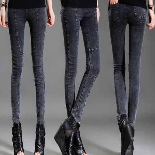 身褲 獨特風格仿舊牛仔百搭修身顯瘦鉛筆褲 艾爾莎【TAE4223】 1