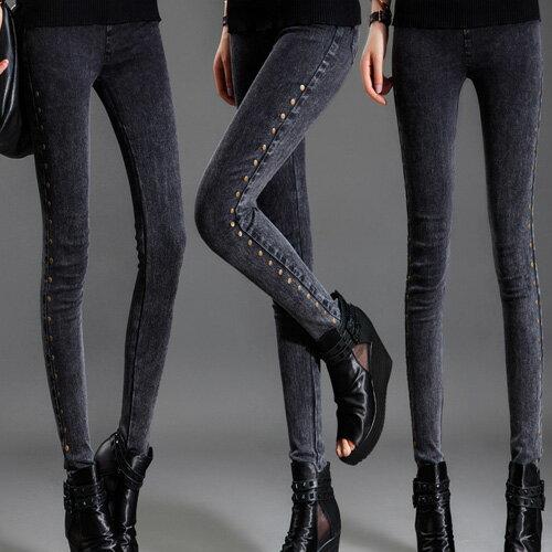 身褲 獨特風格仿舊牛仔百搭修身顯瘦鉛筆褲 艾爾莎【TAE4223】 2
