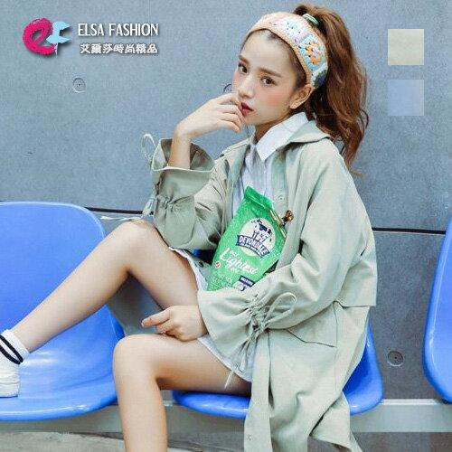 風衣 純色袖子抽繩雙口袋中長版風衣 艾爾莎【TAE4235】 0