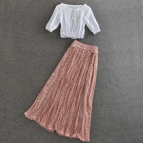 短袖裙裝 氣質綁帶中袖上衣+碎花長裙兩件式套裝 艾爾莎【TAE4885】 2