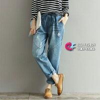 牛仔哈倫褲推薦到牛仔褲 磨白破洞寬鬆百搭牛仔哈倫褲 艾爾莎【TAE5152】就在艾爾莎時尚精品推薦牛仔哈倫褲