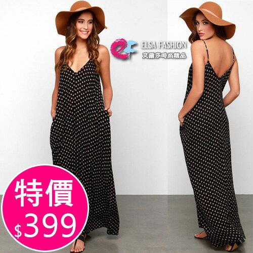 深V洋裝日系女孩可愛波點吊帶洋裝艾爾莎【TAE5354】