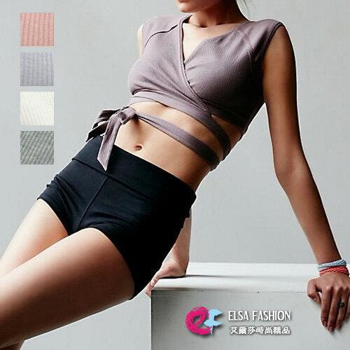 健身上衣特殊剪裁吸濕排汗綁帶健身內衣艾爾莎【TAE5452】