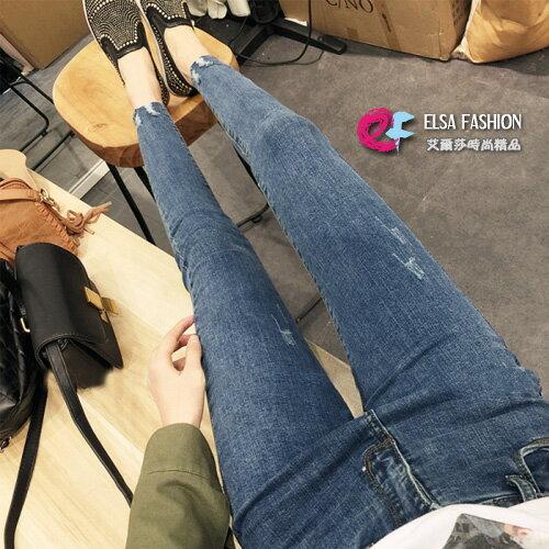 窄管牛仔褲俐落亮眼磨破緊身小腳牛仔褲艾爾莎【TAE5527】