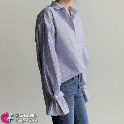 條紋長袖襯衫知性百搭條紋燈籠袖襯衫艾爾莎【TAE5611】