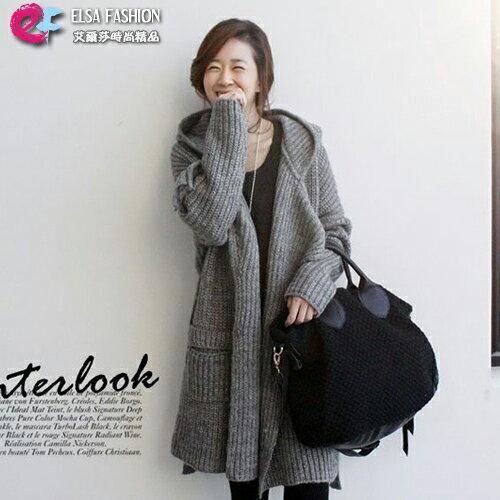 針織外套毛衣外套簡約腰繫帶連帽毛衣外套艾爾莎【TAE6242】