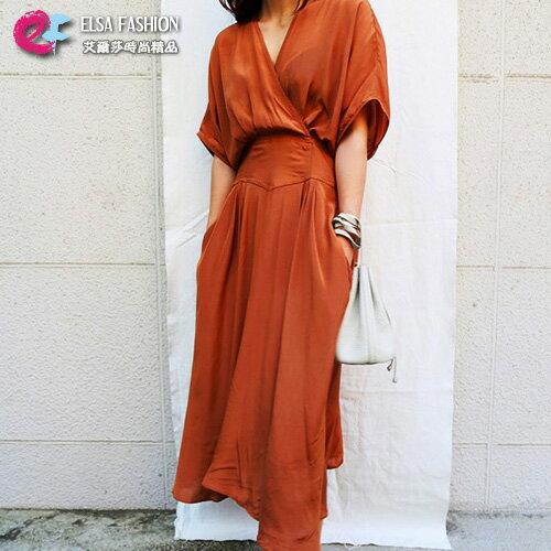 設計款短袖洋裝慵懶飄逸領胸交叉收腰連身裙艾爾莎【TAE6271】