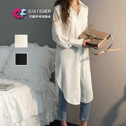 襯衫寬鬆長版雪紡上衣艾爾莎【TAE6433】