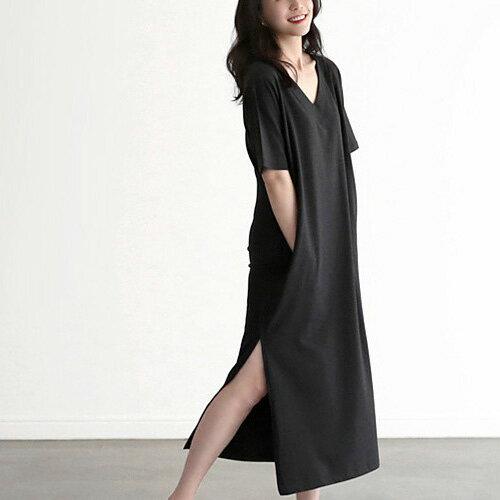 超好搭舒適短袖洋裝V領素面側開叉連身裙艾爾莎【TAE6598】