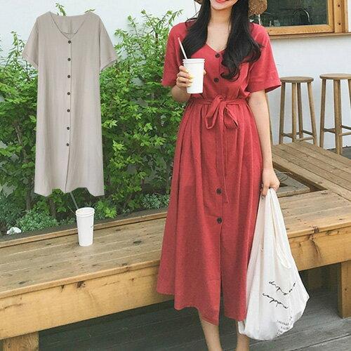 高腰洋裝連身裙舒適V領排扣開叉綁帶短袖洋裝艾爾莎【TAE6612】