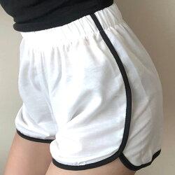 休閒短褲 弧邊開叉跳色邊條寬鬆運動短褲 艾爾莎【TAE6614】