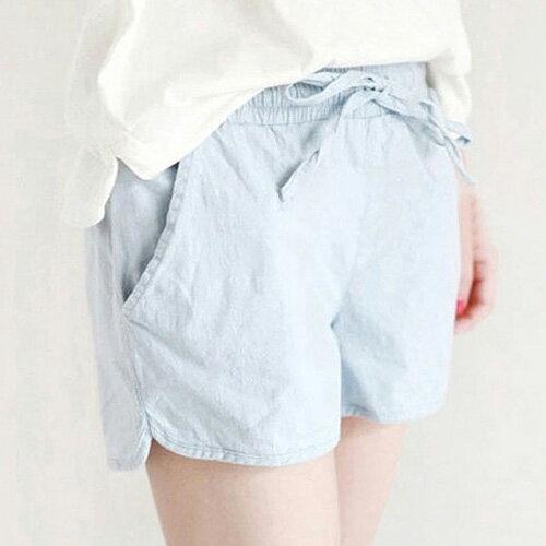 夏日側開叉口袋休閒短褲必備清涼純色抽繩短褲艾爾莎【TAE6620】