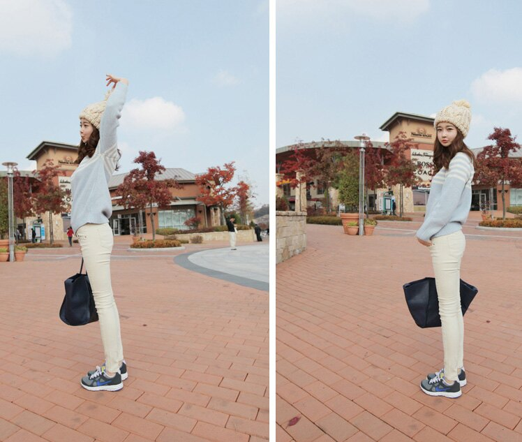 窄管褲 修身顯瘦單排釦中高腰彈性牛仔小腳褲鉛筆褲 艾爾莎【TAH3275】 1