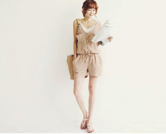 韓國連線連身褲 夏季細肩帶口袋時尚鬆緊顯瘦連體褲 艾爾莎【TAK2106】 1