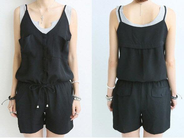 韓國連線連身褲 夏季細肩帶口袋時尚鬆緊顯瘦連體褲 艾爾莎【TAK2106】 2