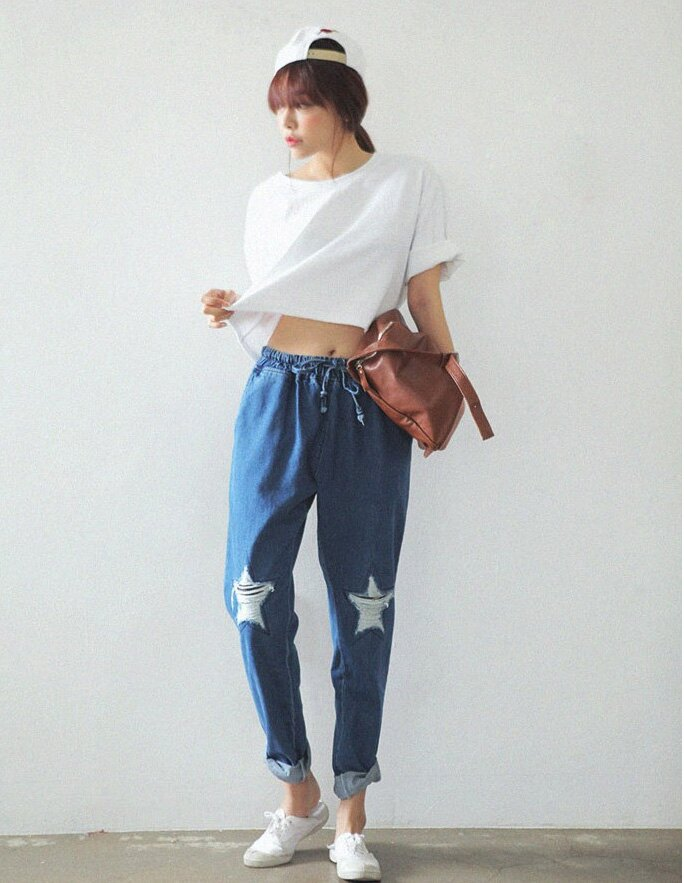 直筒褲 休閒寬鬆五角星鬆緊腰牛仔哈倫褲 艾爾莎【TAK2223】 2