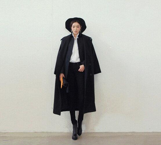 外套長大衣 大衣 秋冬經典復古長版寬鬆毛呢大衣 艾爾莎【TAK2299】 2