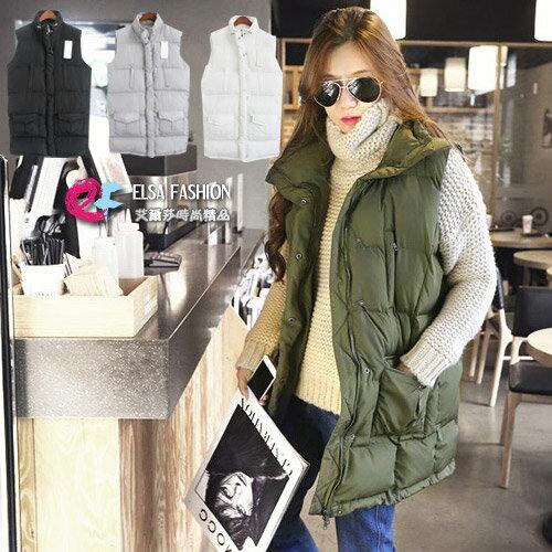 夾克羽絨外套 秋冬禦寒長版保暖鋪棉雙口袋立領背心 艾爾莎【TAK2588】