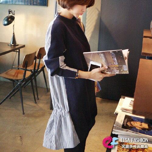 條紋拼接洋裝時尚後立領綁帶收腰拼接豎條紋連身裙艾爾莎【TAK2788】