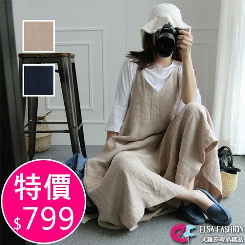 棉麻吊帶褲 悠閒時刻亞麻吊帶連身褲 艾爾莎【TAK5256】 0