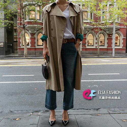 長大衣韓風女伶釘珠寬鬆綁帶風衣外套艾爾莎【TAK5622】