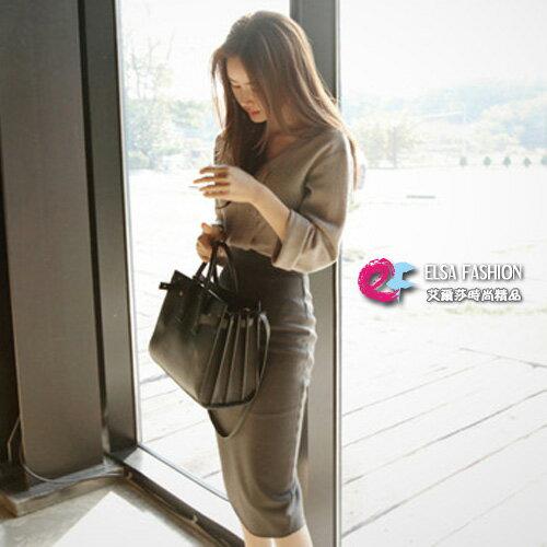 長袖高腰裙套裝靚女魅力V領上衣+修身顯瘦高腰長裙艾爾莎【TAK5707】