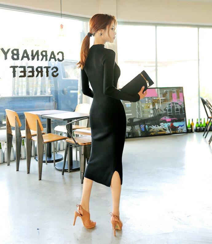 針織洋裝 小心機迷人俏臀連身裙 艾爾莎【TAK6178】 2