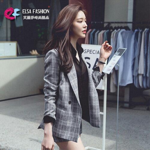 外套褲裝 格紋西裝外套+修身短褲套裝 艾爾莎【TAK6182】 0